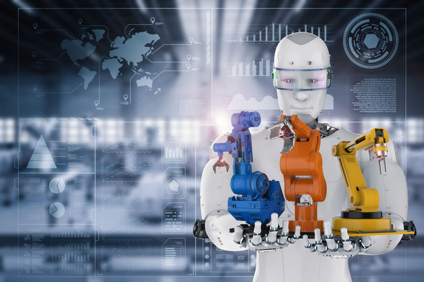 3d rendering cyborg holding three robot arms